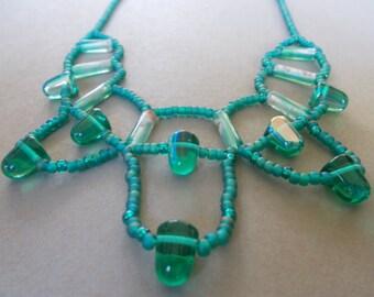 Handmade Blue/Green Bead Bib Necklace   25 USD