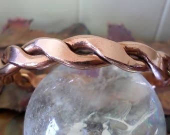 Rustic Copper Cuff-Twisted and Hammered