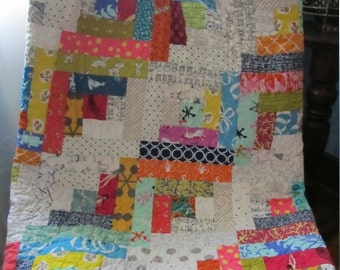 Scrappy Log Cabin Baby Girl, Toddler or Crib Quilt