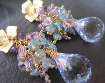 Printemps en Provence Earrings - Blue Topaz, Zircon, Pink Amethyst and Gold Earrings