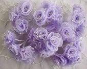 18p Chic Lavender Organza Ribbon Wired Flower w rhinestone Reborn Doll Bridal Wedding Favor Bow Hair Accessory Applique