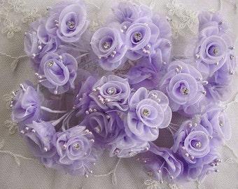 36p Chic Lavender Organza Ribbon Wired Flower w rhinestone Reborn Doll Bridal Wedding Favor Bow Hair Accessory Applique