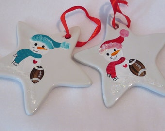 hand painted personalized ceramic snowman sport ornament football