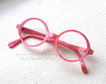 French NOS 60's Round Eyeglasses Eyewear Pink Pearlized Frost Eyeglass Frames France