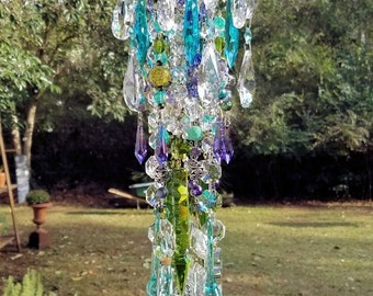 Antique Crystal Wind Chime, Olive Purple Aqua Wind Chime, Garden Decoration, Window Decoration, Crystal Mobile, Home Decor