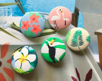 """Handmade Large Green Pink Tropical Tucan Flamingo Bird Leaves Flower Plants Nature Fabric Covered Buttons Magnets Flat Backs , 1.25"""" 5's"""