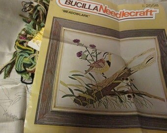 Vintage Crewel Embroidery Kit Meadowlark Bucilla Stitchery Kit 2558 Ready to stitch