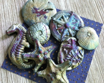 265. Raku Wondrousstrange Urchin Seastar Sand Dollar Sea Horse Compass Rose Inspired Cabochons Blue Silver Rust Gold Magenta  Collection
