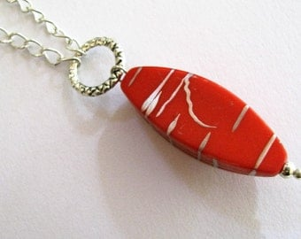 Red Necklace, Red Mod Ovals and Silver Necklace