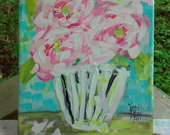 "Abstract Flowers in Pot Pink Roses Original Painting 8"" x 10"" Ready to Ship YelliKelli"