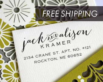 Address Stamp, Return Address Stamp, Self Inking Address Stamp, Custom Address Stamp, Floral Stamp, Save the date stamp - 3001