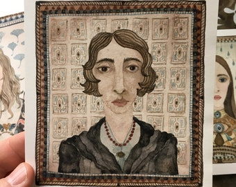 Vita Sackville-West, portrait, original watercolor painting, miniature modern portraiture