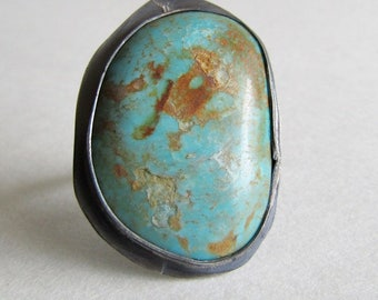 Kingman Turquoise Statement Ring - Size 7 Turquoise Ring - December Birthstone - 25th Wedding Anniversary Gift - Southwest Style Jewelry