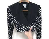 Vintage Cropped Blazer, 80s Black & White Cropped Jacket Early 90s Funky Buttons Pattern Jacket Cropped Pea Coat Heathers 90210 Blazer S M