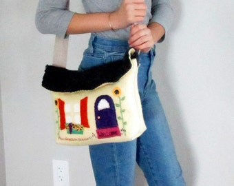 Felted Wool Handbag -- Little Yellow House Boiled Wool Bag -- OOAK