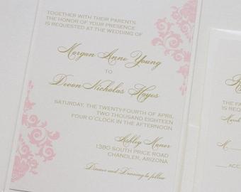 Damask Wedding Invitation | Elegant Wedding Invitation | Romantic Invitation | Ivory, Gold, Blush Wedding Invite | Formal | Morgan Sample