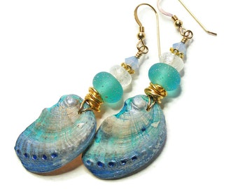 Organic Abalone Shell Earrings, Handcrafted Polymer Clay, Unique Wearable Art, Caribbean Sea, Aqua Turquoise Jewellery, OOAK (One of a Kind)