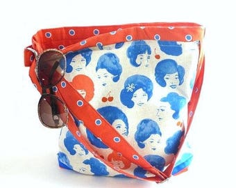 Rockabilly cherries handbag, retro 1960's hairdos, tote bag, tablet bag, shopper, diaper bag, adjustable strap, shoulder bag, zipper top