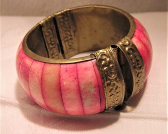 Vintage Pink Stained Bone and Brass Hinged Bracelet in Bohemian Design 1 3/8 Wide and 2 3/8 Interior Diameter. Perfect for Springtime  (D11)