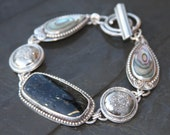 RESERVED for cherbear26 oOo nuummite, silver titanium druzy, abalone shell and sterling silver metalwork link bracelet