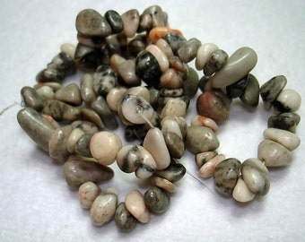 "Desert Pink Marble Small Stone Nugget Beads (one 15"" strand) - B3198"