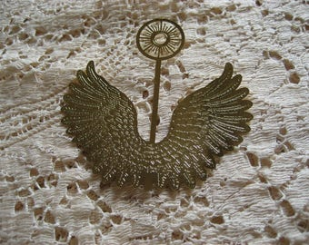 Vintage Brass Angel Wings with Halo (3)