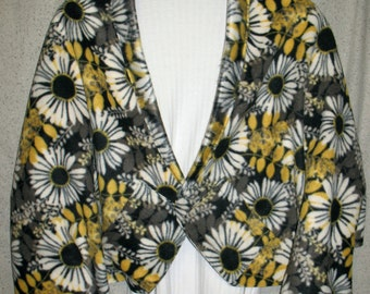 Stylized White Daisies with Yellow/Gray Leaves on Black Shawl, Bed Jacket, or Reading Shawl - Cold Office / Warm Shawl
