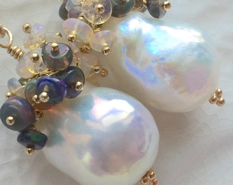Baroque Pearl and Ethiopian Opal Earrings ON HOLD