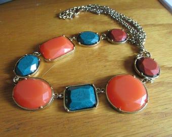 orange teal necklace