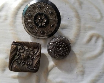 Vintage Buttons - Collector molded metal,  medium to large ,pressed 2 glass and 1 metal Victorian lot of 3 very old (feb 146-17)
