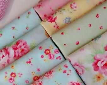 8 Fat Quarters Bundle of Lecien's ANTIQUE FLOWER PASTEL 2016 Cotton Fabrics in Multi ~ 2 yards total