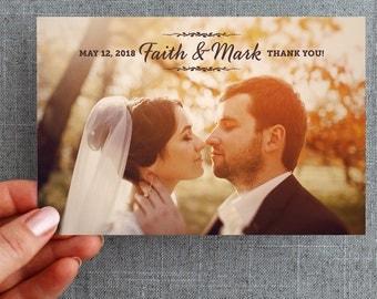 "50+ Wedding Thank you card, with photo, vine detail ""Faith Style"""