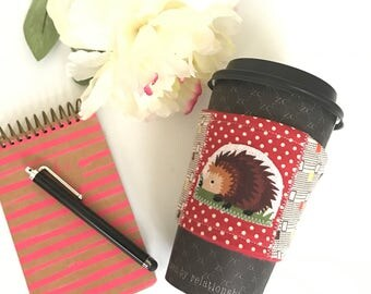 Coffee Cup Cozy, Coffee Cup Sleeve, Hedgehog Coffee Cozy, Cute Coffee Cozy, Cute Coffee Sleeve, Hedgehog Gifts, Reusable Cozy, Teacher Gift