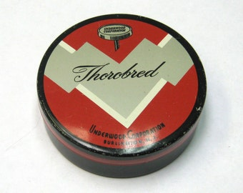 "Vintage Round Underwood Corporation ""Thorobred"" Typewriter Ribbon Tin"