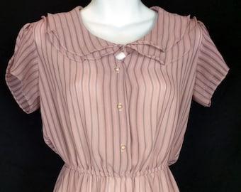 Pink Black Stripe Sheer Dress 7/8 S