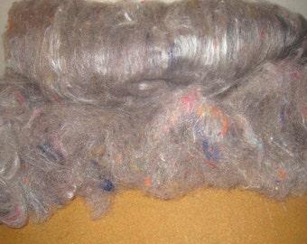 Art Batt, Jacob Wool, Natural Gray-brown, Tussah Silk, Silk Noil, Lofty, Silky & Soft 2.26 oz