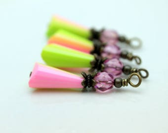 Vintage Style Pink and Green Teardrop and Clear Pink Czech Crystal with Brass Bead Dangle Charm Drop Set