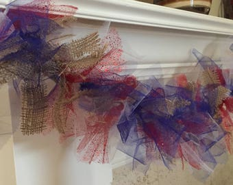 Patriotic Tulle and Burlap red White Blue Garland