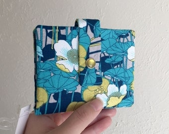 Pretty Blue Floral Wallet - Midsize Cash and Card Wallet with Change pouch