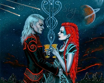 2 Of Cups ORIGINAL Tarot Romance Love Space Science Fiction Aliens Constellation Stars Planets Fantasy Art Acrylic Gouache