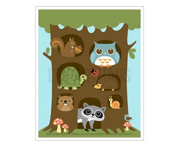 90A Woodland Animal Art - Woodland Animals in Big Tree Wall Art - Woodland Creatures Nursery Wall Art - Forest Animals Print - Animal Art