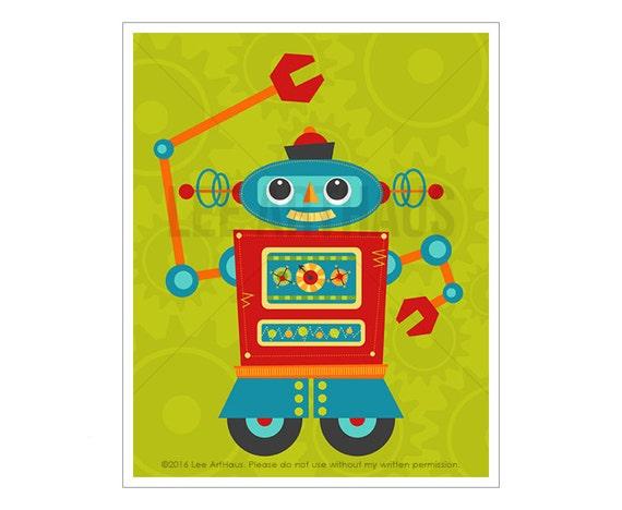 Robot Wall Art - Robot 8 Wall Art - Baby Boy Robot Nursery Wall Art - Robot Baby Shower - Robot Artwork - Playroom Wall Art -  Boy Robots