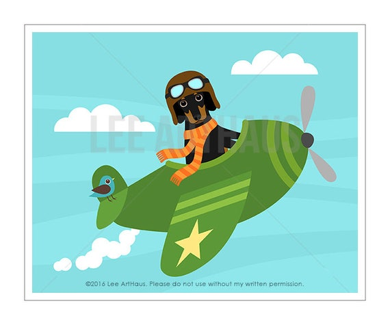 295D Airplane Print - Black and Tan Dachshund Flying Green Airplane Wall Art - Sausage Dog Print - Dachshund Art - Green Airplane Nursery
