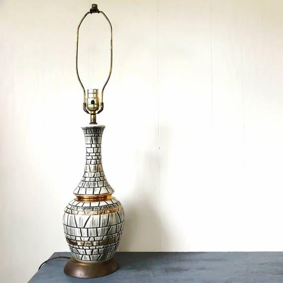 vintage ceramic table lamp - mosaic tile look - black ivory copper