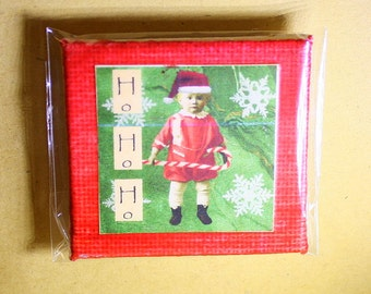 Ho Ho Ho Mini Canvas Magnet - Two Inch