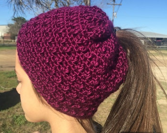 Crocheted Messy Bun Ponytail Hat Toddler Adult Sizes
