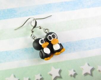 Penguin Earrings, cute earrings, penguin jewelry, penguin gift, womens gift for her, polymer clay animal lovers gift, animal earrings