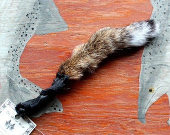 Bobcat tail - real eco-friendly bobcat fur totem tail on recycled leather belt loop for shamanic ritual and dance LB01