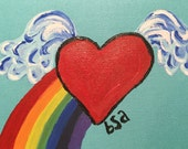 Over the Rainbow hand painted notecard
