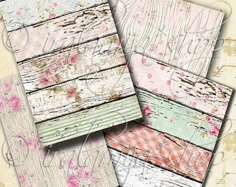 SALE WOOD GRAIN backgrounds Collage Digital Images -printable download file-